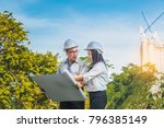 engineer man and woman on... | Shutterstock . vector #796385149