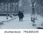 strong snowfall in city streets ... | Shutterstock . vector #796385245