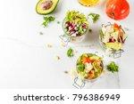 fresh salads in jar with fresh... | Shutterstock . vector #796386949