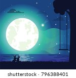 moon and river silhouette ... | Shutterstock .eps vector #796388401