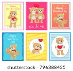 i love you and me teddy bears... | Shutterstock .eps vector #796388425