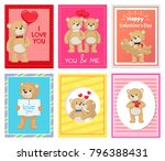 i love you and me teddy bears... | Shutterstock .eps vector #796388431