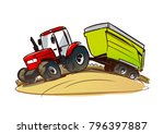 red tractor with a grain cart... | Shutterstock .eps vector #796397887