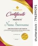certificate template with gold... | Shutterstock .eps vector #796399291