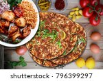 chicken shish and lahmacun.... | Shutterstock . vector #796399297