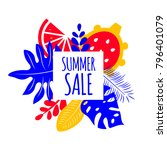 banner summer sale. exotic... | Shutterstock .eps vector #796401079