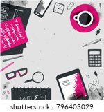 vector hand drawn freelance... | Shutterstock .eps vector #796403029