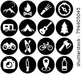 set of white icons isolated... | Shutterstock .eps vector #796405045