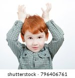 redhead little boy playing with ... | Shutterstock . vector #796406761