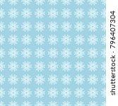 white floral pattern on blue...   Shutterstock .eps vector #796407304