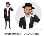 a jewish man is talking on the... | Shutterstock .eps vector #796407589