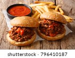 homemade sandwiches with meat... | Shutterstock . vector #796410187