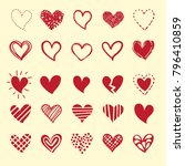 red hearts for valentin's day.... | Shutterstock .eps vector #796410859