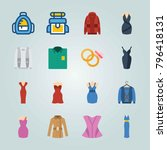 icon set about clothes and... | Shutterstock .eps vector #796418131