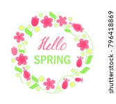 hello spring greeting card.... | Shutterstock .eps vector #796418869