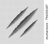 claws scratches on paper with... | Shutterstock . vector #796434187