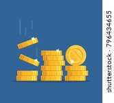golden falling coins.  oins... | Shutterstock .eps vector #796434655
