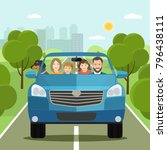 funny  family driving in car on ... | Shutterstock .eps vector #796438111