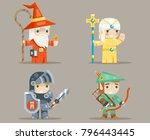 warrior mage priest archer... | Shutterstock .eps vector #796443445