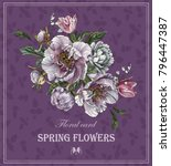 floral greeting card with...   Shutterstock . vector #796447387