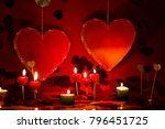 hearts and candles  red... | Shutterstock . vector #796451725