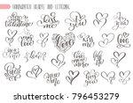big set hand written lettering...   Shutterstock .eps vector #796453279