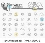 weather line icons with minimal ... | Shutterstock .eps vector #796460971