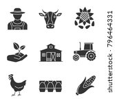 agriculture glyph icons set.... | Shutterstock . vector #796464331
