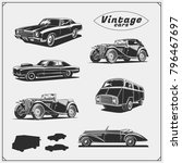 collection of retro muscle cars ... | Shutterstock .eps vector #796467697