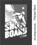 freeride snowboarder in motion. ... | Shutterstock .eps vector #796467841