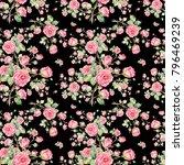watercolor seamless rose... | Shutterstock . vector #796469239