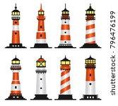 lighthouse set flat style on...   Shutterstock .eps vector #796476199