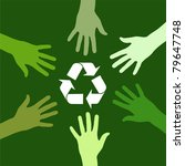 recycling sign been circled by various green hands. - stock photo