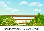 illustration of wood fence with ... | Shutterstock .eps vector #796488931