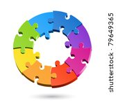 jigsaw puzzle wheel. vector.   Shutterstock .eps vector #79649365