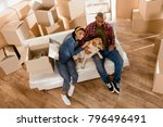 african american couple with... | Shutterstock . vector #796496491