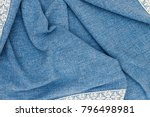 linen fabric denim blue... | Shutterstock . vector #796498981