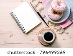 morning composition with coffee ... | Shutterstock . vector #796499269