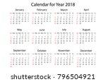 calendar for 2018 on white... | Shutterstock .eps vector #796504921