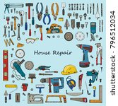 big set of house repair tools...   Shutterstock .eps vector #796512034