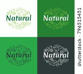 organic logo. green and natural ... | Shutterstock .eps vector #796515451
