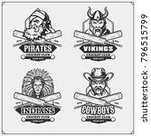 set of cricket club emblems ... | Shutterstock .eps vector #796515799