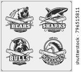 set of cricket club emblems ... | Shutterstock .eps vector #796515811