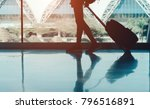 silhouette woman travel with...   Shutterstock . vector #796516891