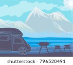 summer picnic in the mountains | Shutterstock .eps vector #796520491