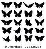 butterflies set. vector... | Shutterstock .eps vector #796525285