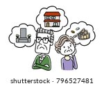 senior couple  anxiety  worry ... | Shutterstock .eps vector #796527481