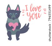 happy valentine cute wolf... | Shutterstock .eps vector #796551499