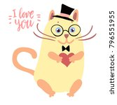 happy valentine cute cat... | Shutterstock .eps vector #796551955