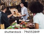 happy man showing homemade... | Shutterstock . vector #796552849